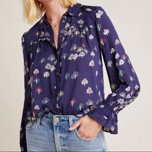 Maeve by Anthropologie Fredericka Tree Blouse